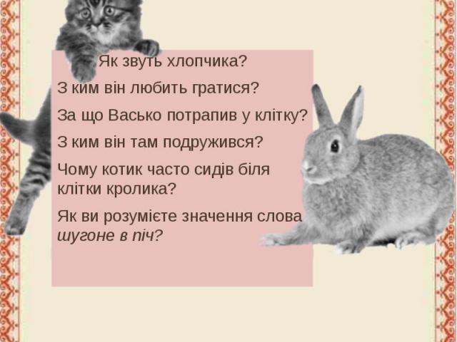 Запитання Як звуть хлопчика? З ким він любить гратися? За що Васько потрапив у клітку? З ким він там подружився? Чому котик часто сидів біля клітки кролика? Як ви розумієте значення слова шугоне в піч?