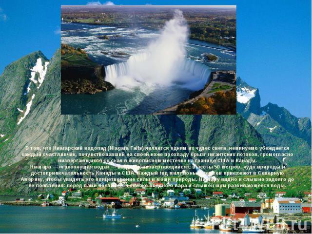 В том, что Ниагарский водопад (Niagara Falls) является одним из чудес света, неминуемо убеждается каждый счастливчик, почувствовавший на своей коже прохладу брызг гигантских потоков, громогласно низвергающихся со скал в живописном местечке на границ…