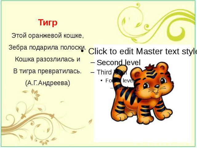Тигр Этой оранжевой кошке, Зебра подарила полоски. Кошка разозлилась и В тигра превратилась. (А.Г.Андреева)