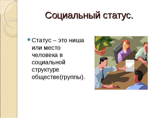 Социальный статус. Статус – это ниша или место человека в социальной структуре обществе(группы).