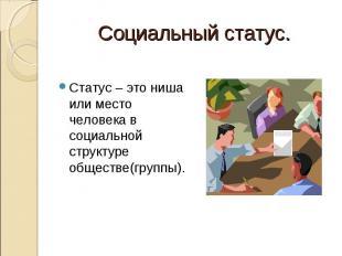 Социальный статус. Статус – это ниша или место человека в социальной структуре о