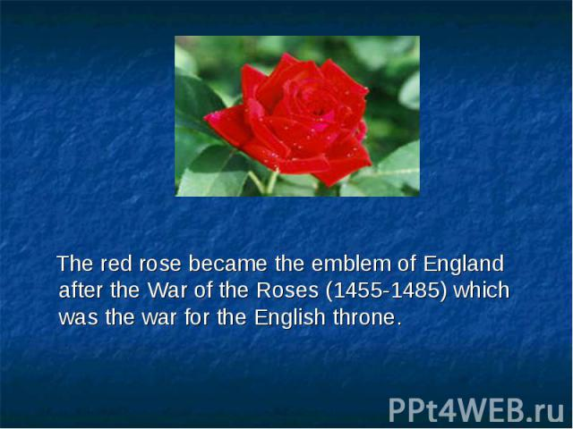 The red rose became the emblem of England after the War of the Roses (1455-1485) which was the war for the English throne. The red rose became the emblem of England after the War of the Roses (1455-1485) which was the war for the English throne.