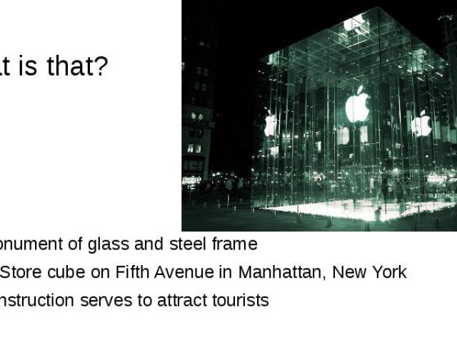 What is that? the monument of glass and steel frame Apple Store cube on Fifth Avenue in Manhattan, New York the construction serves to attract tourists