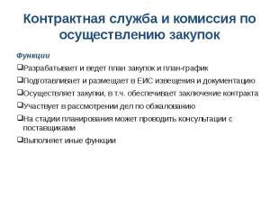 Контрактная служба и комиссия по осуществлению закупок Функции Разрабатывает и в