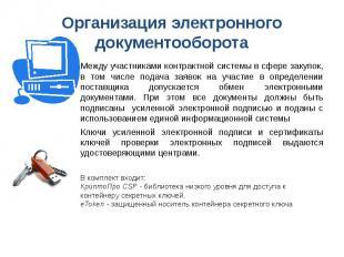Организация электронного документооборота Между участниками контрактной системы