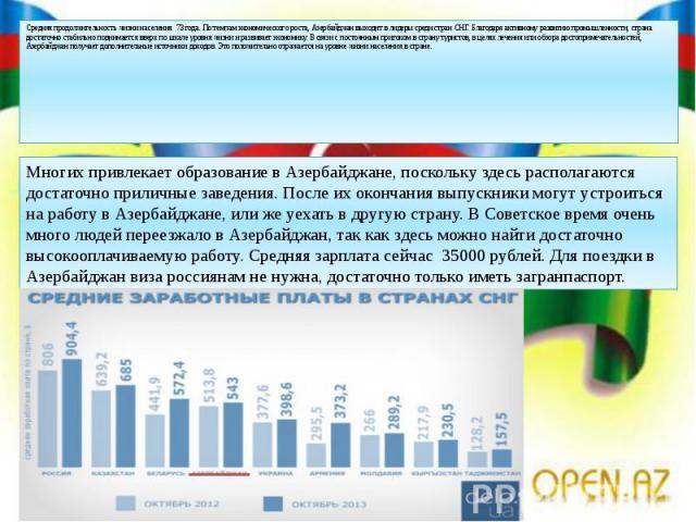 Средняя продолжительность жизни населения 73 года. По темпам экономического роста, Азербайджан выходит в лидеры среди стран СНГ. Благодаря активному развитию промышленности, страна достаточно стабильно поднимается вверх по шкале уровня жизни и разви…