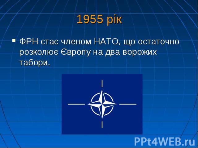 1955 рік ФРН стає членом НАТО, що остаточно розколює Європу на два ворожих табори.