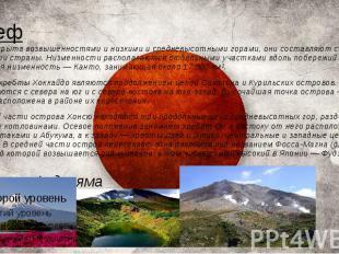 Рельеф Япония покрыта возвышенностями и низкими и средневысотными горами, они со