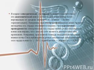 В нормеэлектрическая ось сердцапримерно соответствует егоанато