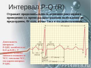 Интервал Р-Q (R) Отражает продолжительность атриовентрикулярного проведения т.е.