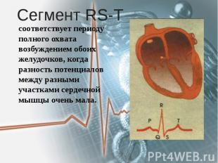 Сегмент RS-T соответствует периоду полного охвата возбуждением обоих желудочков,