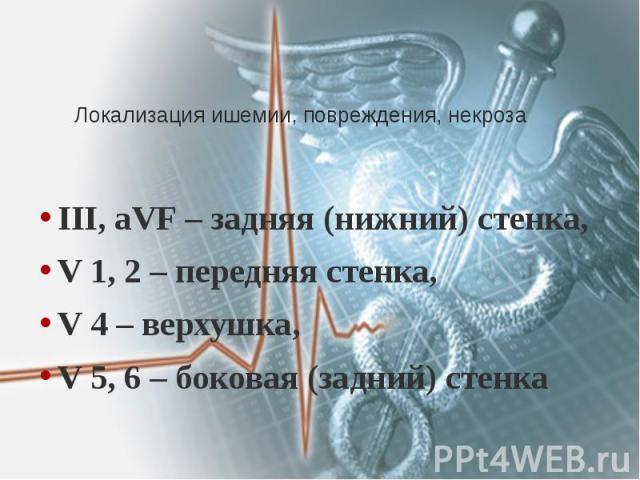 Локализация ишемии, повреждения, некроза III, aVF – задняя (нижний) стенка, V 1, 2 – передняя стенка, V 4 – верхушка, V 5, 6 – боковая (задний) стенка