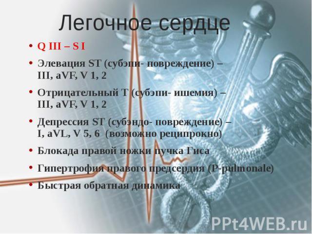 Легочное сердце Q III – S I Элевация ST (субэпи- повреждение) – III, aVF, V 1, 2 Отрицательный Т (субэпи- ишемия) – III, aVF, V 1, 2 Депрессия ST (субэндо- повреждение) – I, aVL, V 5, 6 (возможно реципрокно) Блокада правой ножки пучка Гиса Гипертроф…