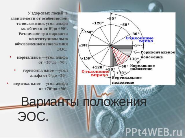 Варианты положения ЭОС. У здоровых людей, в зависимости от особенностей телосложения, угол альфа колеблется от 0°до +90°. Различают три варианта конституционально обусловленного положения ЭОС: нормальное —угол альфа от +30°до +70°; горизонтальное —у…