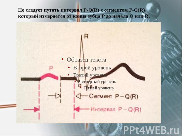 Не следует путать интервал P-Q(R) c сегментом P-Q(R), который измеряется от конца зубца Р до начала Q или R.