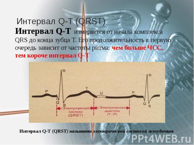 Интервал Q-T (QRST) Интервал Q-T измеряется от начала комплекса QRS до конца зубца Т. Его продолжительность в первую очередь зависит от частоты ритма: чем больше ЧСС, тем короче интервал Q-Т