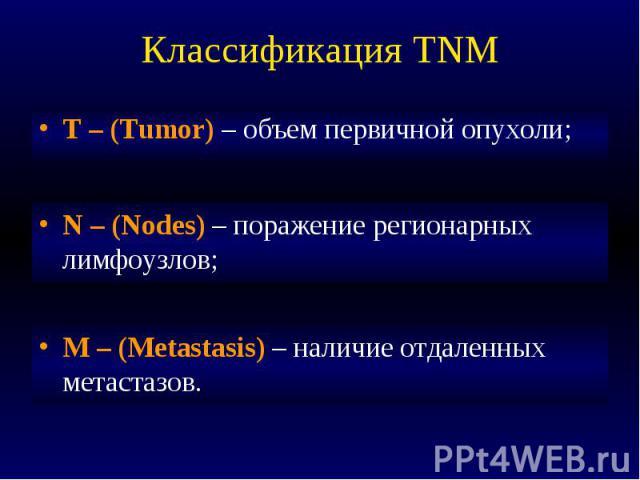 Классификация TNM T – (Tumor) – объем первичной опухоли;