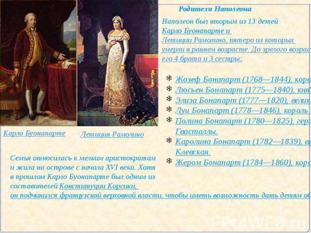 Наполеон был вторым из 13 детей Карло Буонапарте и Летиции Рамолино, пятеро из которых умерли в раннем возрасте. До зрелого возраста кроме самого Наполеона дожили его 4 брата и 3 сестры: