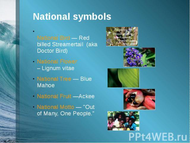 "National symbolsNational Bird —Red billed Streamertail (aka Doctor Bird)National Flower –Lignum vitaeNational Tree —Blue MahoeNational Fruit —AckeeNational Motto — ""Out of Many, One People."""