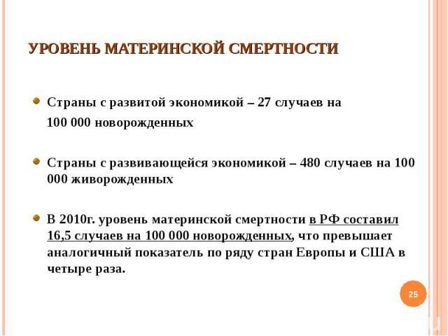 Страны с развитой экономикой – 27 случаев на Страны с развитой экономикой – 27 случаев на 100 000 новорожденных Страны с развивающейся экономикой – 480 случаев на 100 000 живорожденных В 2010г. уровень материнской смертности в РФ составил 16,5 случа…