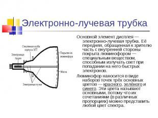 Основной элемент дисплея — электронно-лучевая трубка. Её передняя, обращенная к