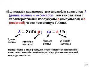«Волновые» характеристики ансамбля квантонов λ (длина волны) и ω (частота) жестк