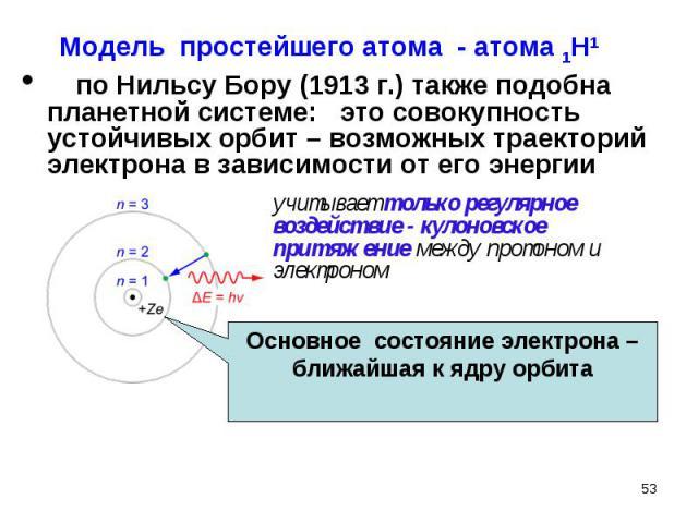 по Нильсу Бору (1913 г.) также подобна планетной системе: это совокупность устойчивых орбит – возможных траекторий электрона в зависимости от его энергии по Нильсу Бору (1913 г.) также подобна планетной системе: это совокупность устойчивых орбит – в…