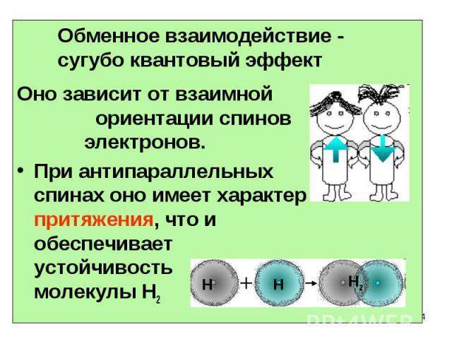 Оно зависит от взаимной ориентации спинов электронов. При антипараллельных спинах оно имеет характер притяжения, что и обеспечивает устойчивость молекулы Н2