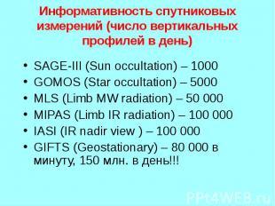 SAGE-III (Sun occultation) – 1000 SAGE-III (Sun occultation) – 1000 GOMOS (Star