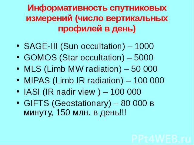 SAGE-III (Sun occultation) – 1000 SAGE-III (Sun occultation) – 1000 GOMOS (Star occultation) – 5000 MLS (Limb MW radiation) – 50 000 MIPAS (Limb IR radiation) – 100 000 IASI (IR nadir view ) – 100 000 GIFTS (Geostationary) – 80 000 в минуту, 150 млн…