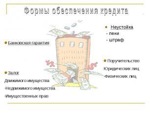 Формы обеспечения кредита Банковская гарантия ЗалогДвижимого имуществаНедвижимог