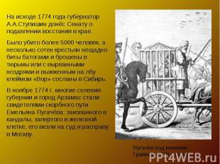 На исходе 1774 года губернатор А.А.Ступишин донёс Сенату о подавлении восстания