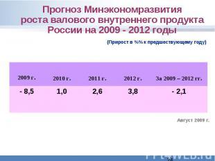 Прогноз Минэкономразвитияроста валового внутреннего продукта России на 2009 - 20