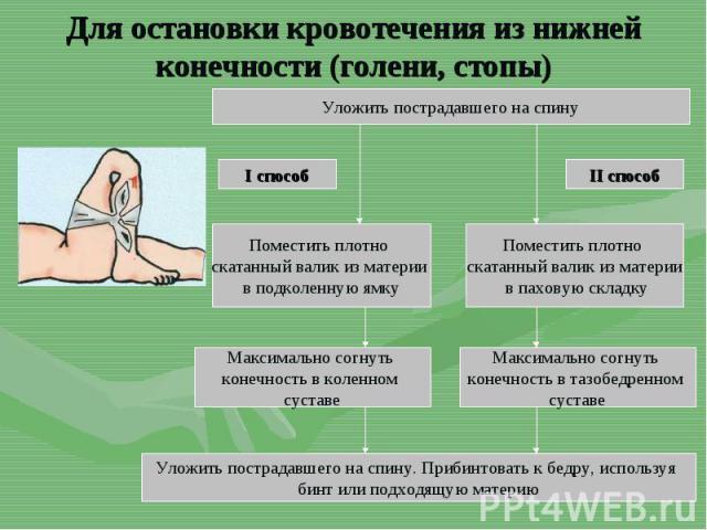 Для остановки кровотечения из нижней конечности (голени, стопы)Уложить пострадавшего на спинуУложить пострадавшего на спину. Прибинтовать к бедру, используя бинт или подходящую материю