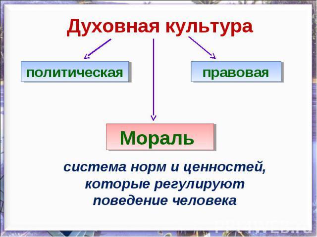 Духовная культураполитическаяправоваяМораль система норм и ценностей, которые регулируют поведение человека