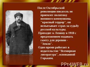 """После Октябрьской революции писатель не приемлет политику военного коммунизма, """""""
