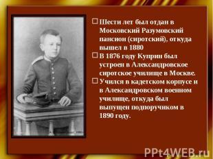 Шести лет был отдан в Московский Разумовский пансион (сиротский), откуда вышел в