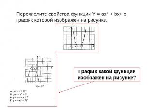 Перечислите свойства функции Y = ax2 + bx+ c, график которой изображен на рисунк