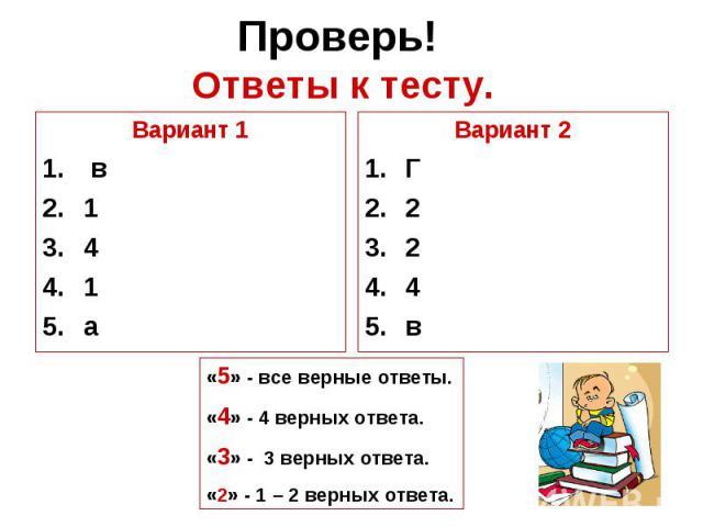 Проверь! Ответы к тесту.Вариант 1 в141аВариант 2Г224в«5» - все верные ответы.«4» - 4 верных ответа.«3» - 3 верных ответа.«2» - 1 – 2 верных ответа.