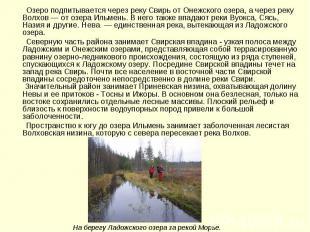 Озеро подпитывается через реку Свирь от Онежского озера, а через реку Волхов — о