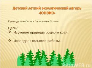 Детский летний экологический лагерь«ЮНЭКО»Руководитель Оксана Васильевна ПоповаЦ