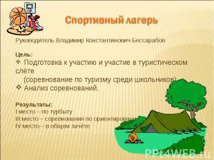 Спортивный лагерьРуководитель Владимир Константинович БессарабовЦель: Подготовка