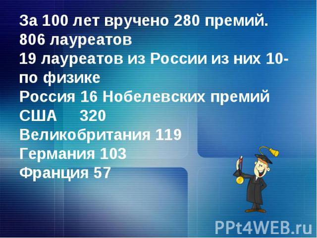 За 100 лет вручено 280 премий.806 лауреатов19 лауреатов из России из них 10- по физикеРоссия 16 Нобелевских премийСША 320 Великобритания 119Германия 103Франция 57
