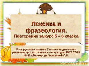 Лексика и фразеология. Повторение за курс 5 – 6 класса Урок русского языка в 7 к