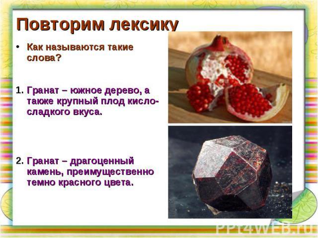 Повторим лексикуКак называются такие слова?Гранат – южное дерево, а также крупный плод кисло-сладкого вкуса.Гранат – драгоценный камень, преимущественно темно красного цвета.