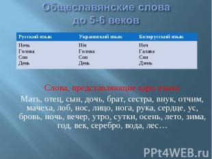 Общеславянские словадо 5-6 веков Слова, представляющие ядро языка Мать, отец, сы