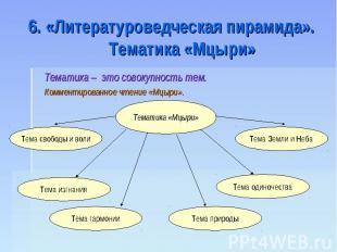 6. «Литературоведческая пирамида». Тематика «Мцыри»Тематика – это совокупность т