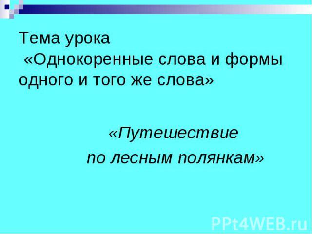 Тема урока «Однокоренные слова и формы одного и того же слова» «Путешествие по лесным полянкам»