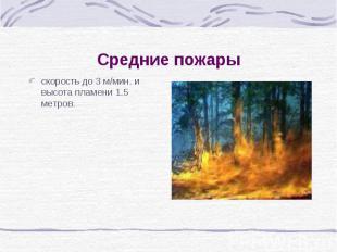 Средние пожарыскорость до 3 м/мин. и высота пламени 1.5 метров.