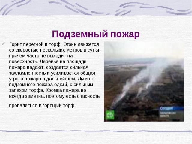 Подземный пожар Горит перегной и торф. Огонь движется со скоростью нескольких метров в сутки, причем часто не выходит на поверхность. Деревья на площади пожара падают, создается сильная захламленность и усиливается общая угроза пожара в дальнейшем. …